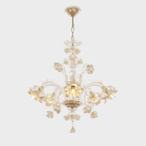 Flower Design Amber Led Crystal Handmade Glass Chandelier Demand Exceeding Supply Chandeliers